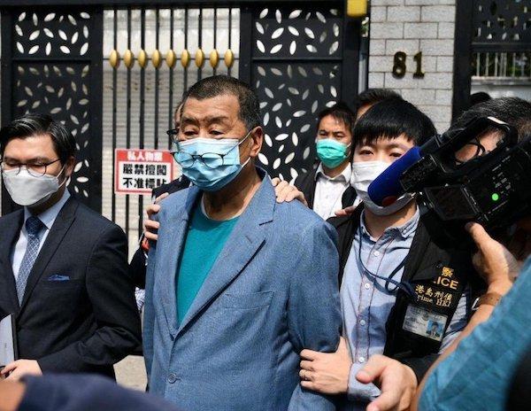 香港政府逮補黎智英、李柱銘等民主人士。 圖片來源:聯合新聞網