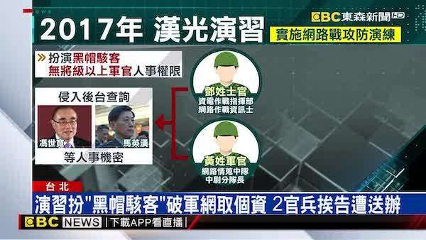 國軍資通電軍執行網路攻防演練,竟遭送辦。 圖片來源:東森新聞