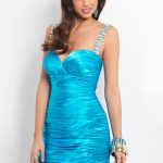 Taffeta Aqua Blue Ruffles Fashionable Dresses Collection (1)