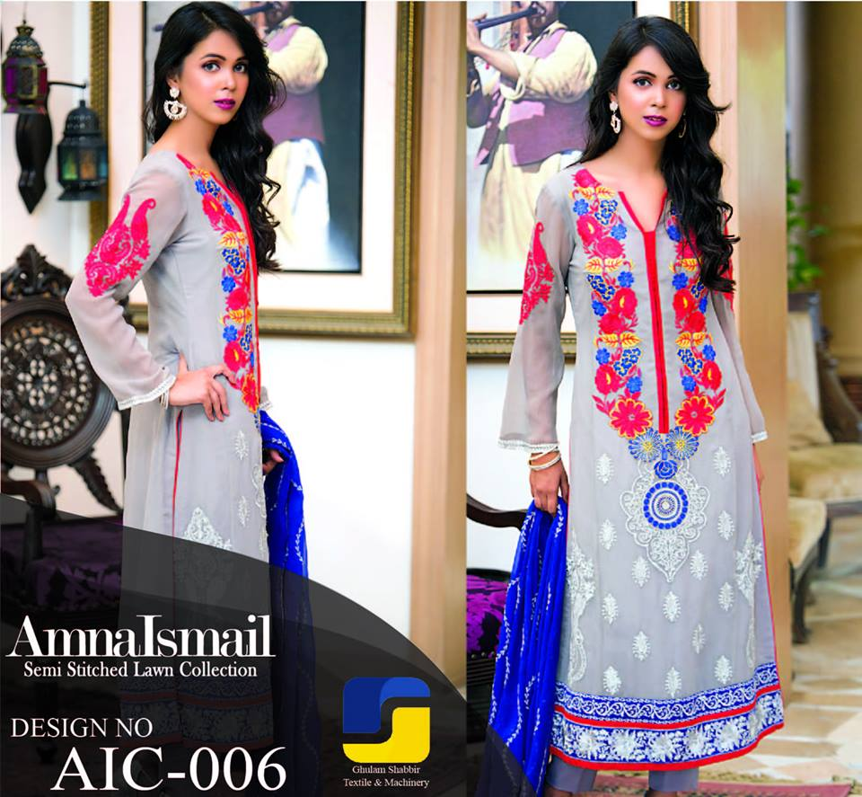 Designer Amna Ismail Semi stitched Chiffon Collection 2015 for women