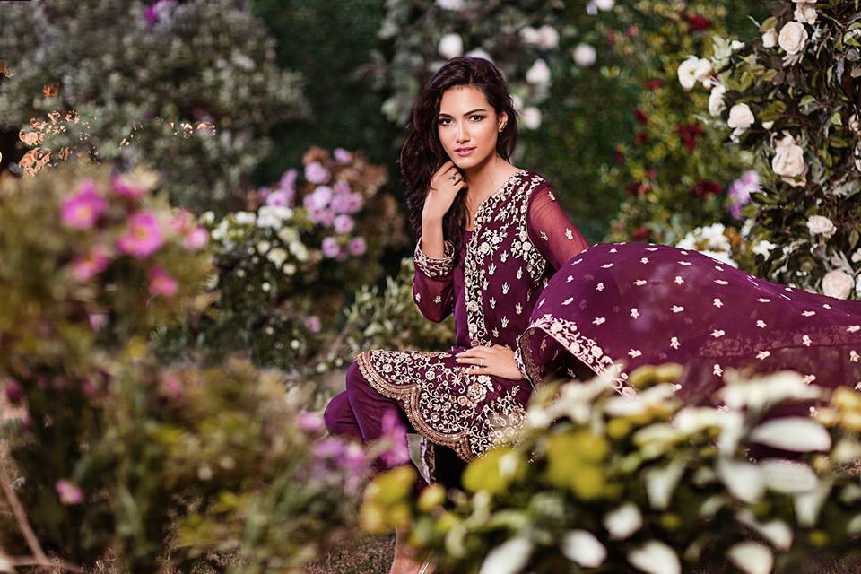 2015 party wear Mina Hasan Embroidered Fabrics dresses