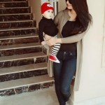 Ayeza Khan in Jeans with hre years daughter