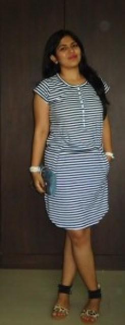 OOTD: Casual Striped Dress, Denim Clutch