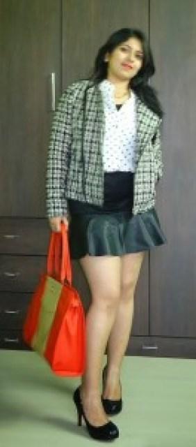 Outfit: Polka Dot Shirt, Tweed Jacket, leather panel skirt, toteteca bag