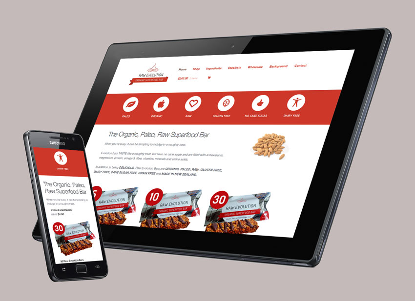 Raw Evolution Organic Superfood Bar' responsive website and mobile design interface