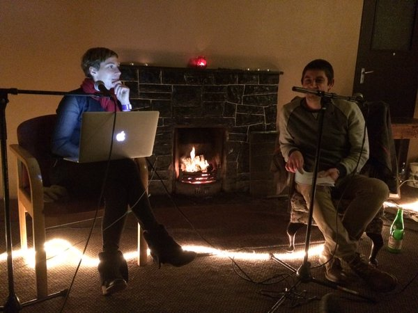 Zoë Comyns and Lyric Feature's Eoin O'Kelly - Fireside chat at Hearsay 2015 (thanks to Cristin Leach Hughes for the photo)