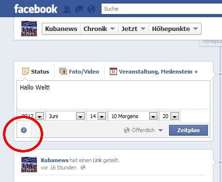 Screenshot: in Facebook zeitversetzt posten