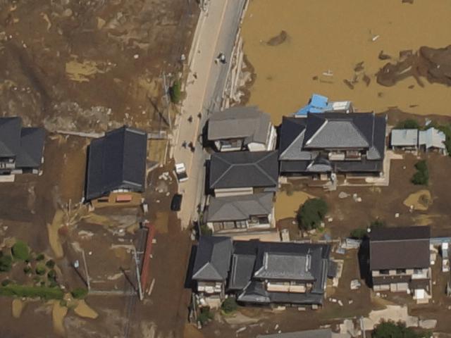 鬼怒川の堤防の決壊箇所 航空写真 拡大