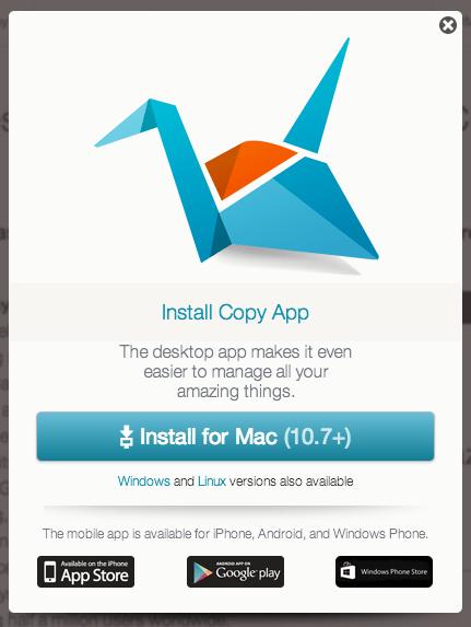 Copyのアプリインストール