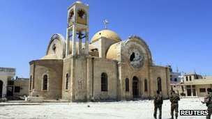 Battered church in Qusair, 6 June