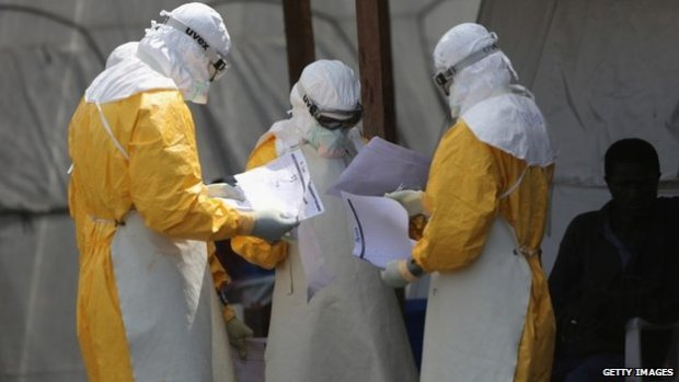 Medicins Sans Frontieres staff at the Ebola treatment centre in Paynesville, Liberia on 16 October 2014