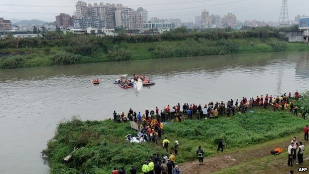 "Rescue personnel work to free passengers from a TransAsia ATR 72-600 turboprop plane (C-in water) that crash-landed into a river outside Taiwan""s capital Taipei in New Taipei City on February 4, 2015."