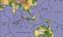 This map of the Indian Ocean region shows boundaries of Earth's tectonic plates in the area, and the epicenters (red stars) of two great earthquakes that happened April 11, 2012. A new study from the University of Utah and University of California, Santa Cruz, says the main shock measured 8.7 in magnitude, about 40 times larger than the previous estimate of 8.6. An 8.2-magnitude quake followed two hours later.The scientists explain how at least four faults ruptured during the 8.7 main shock, and how both great quakes are likely part of the breakup of the Indo-Australian Plate into separate subplates. The northeastward-moving plate is breaking up over scores of millions of years because the western part of the plate is bumping into Asia and slowing down, while the eastern part is sliding more easily beneath Sumatra and the Sunda plate.