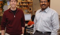 Iowa State University's Patrick Schnable, left, and Srinivas Aluru are developing a toolbox to help life sciences researchers analyze all of the data produced by today's DNA sequencing instruments. Photo by Bob Elbert/Iowa State University