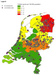 Location of registered tick bites via Tekenradar.nl and the number of tick bites per province per 100,000 inhabitants.