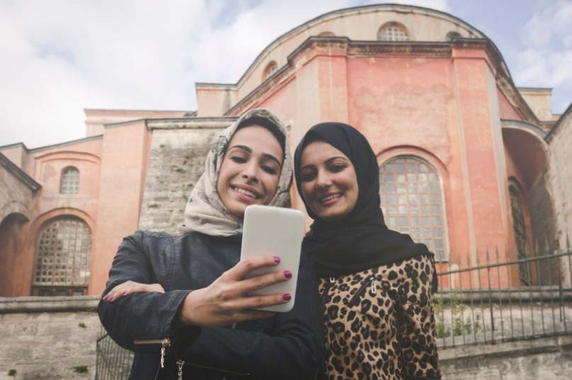Friends Taking Selfie In Istanbul