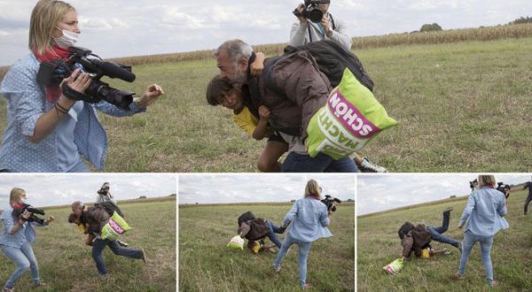 مصورة هنغارية متطرفة ضد اللاجئين