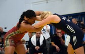 Iris Smith (USA) and Epp Mae (EST) wrestle for first place at the Dave Schultz Memorial International wrestling tournament. Mae won the match. (Jasmine Cannon/MEDILL)