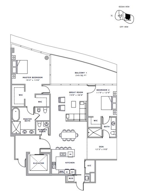Ritz-Carlton Residenes Sunny Isles, FL - Floor Plan D