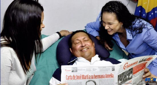 Hugo Chavez, with his two daughters, Maria and Rosa in Havana while recuperating in Havana from surgery in February.