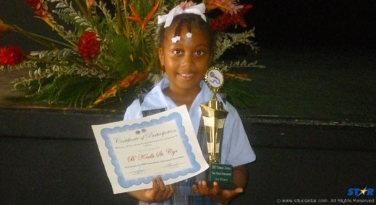 B'Knelli St Cyr from the Dame Pearlette Louisy Primary.