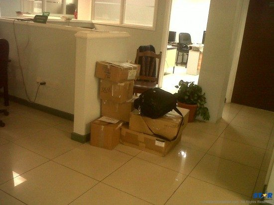 Packed and ready to go? The office belongings of deployed GIS staff awaits pick up on Friday.