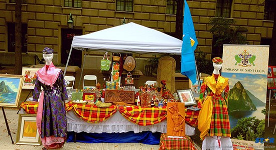 A display of Saint Lucian art and craft at the jamming DC festival.