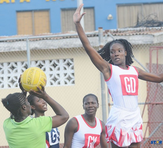 Roxanne Snyder (extreme right) and Shem Maxwell (beside her) are among the players on Team St Lucia competing at a National Netball Festival in Northern Irleand.