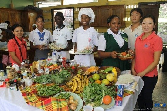 """Saint Lucia's future executive chefs at """"The Healthy and Sustainable Contest""""."""
