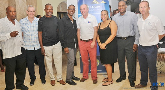 Minister of Tourism, Lorne Theophilus (fourth from the left) with WCC's Andrew Bishop and officials with the St Lucia Tourist Board, IGY Rodney Bay Marina and World Cruising Club at Thursday's ARC Welcome Cocktail.