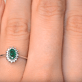 A4450   Emerald 5 x 3mm And Diamond 9K White Gold Ring   YouTube4