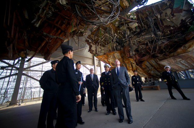 U.S. Navy Secretary Ray Mabus visits the wreckage of the Korean ship Cheonan in April, 2011[U.S. Navy Photo]