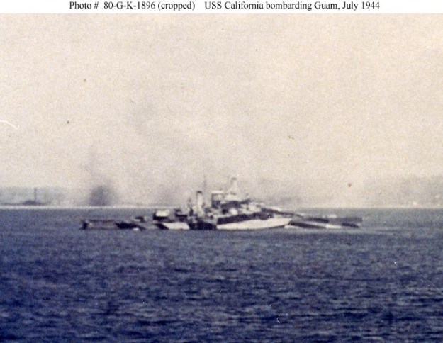 USS California bombarding Guam, July 1944