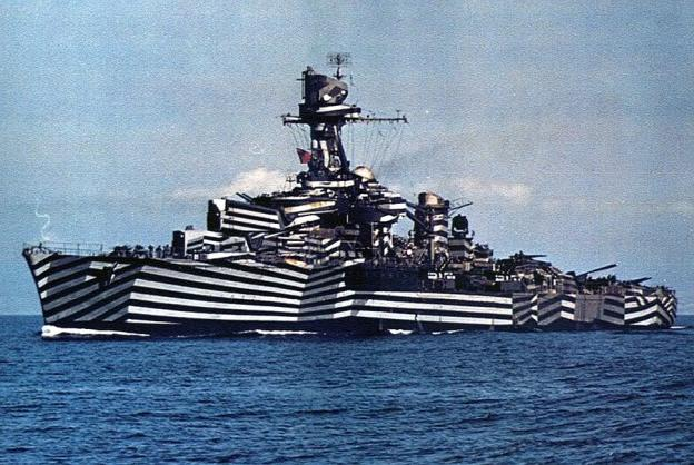 The zebra-striped French light cruiser Gloire