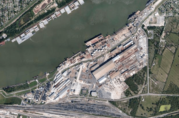 Avondale Shipyard in New Orleans. The yard historically built amphibious ships for the U.S. Navy. Owners are now exploring using the yard for manufacturing oil and gas infrastructure. Google Photo