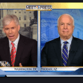 David Gregory and John McCain on Sunday's Meet the Press. NBC