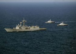 USS Vandegrift (FFG 48), along with Royal Cambodian Navy patrol crafts in October 2012. U.S. Navy Photo