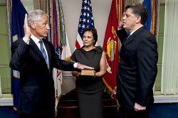 Chuck Hagel is sworn into office as the 24th Secretary of Defense at the Pentagon, Feb. 27, 2013. DoD Photo