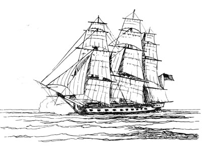 Sister ship of the 1776 frigate USS Washington, the USS Randolph 1776