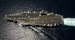 Birds-eye view of the USS Abraham Lincoln at sea