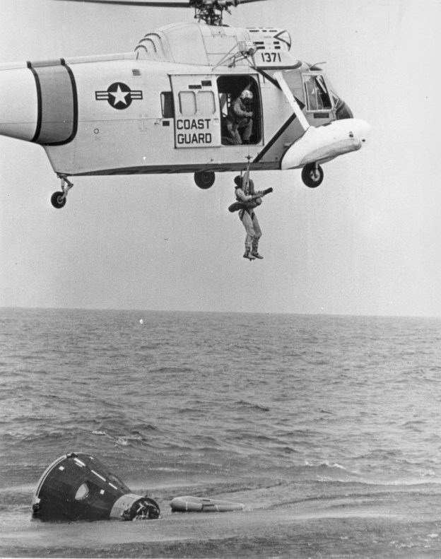 James A. McDivett is pulled from the Gulf of Mexico during Gemini 4 training, April 14, 1965. US Naval Institute Archives