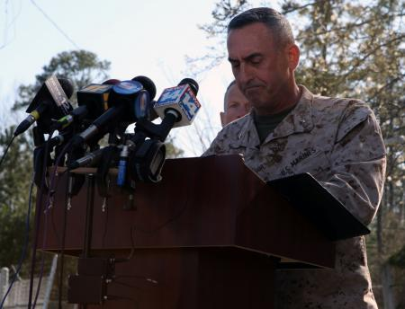 Brig. Gen. James W. Lukeman, 2nd Marine Division commanding general, at a Tuesday press conference at Camp Lejeune.