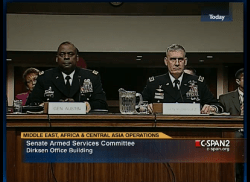 Gen. Lloyd Austin III (left) and Gen. David Rodriguez (right) during a Feb. 14 Senate Armed Services Committee nomination hearing. C-Span Photo
