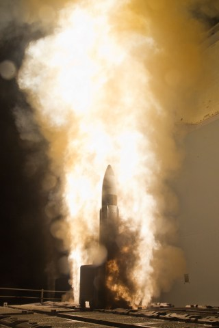 An Aegis interceptor is launched from the USS Lake Erie (CG-70) during a Missile Defense Agency and Navy test in the mid-Pacific. US Navy Photo
