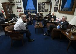 "Secretary of the Navy (SECNAV) Ray Mabus meets with U.S. Congressman Howard ""Buck"" McKeon at the Rayburn House Office Building in January. US Navy Photo"