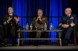 Chief of Naval Operations (CNO) Adm. Jonathan Greenert joins Commandant of the Marine Corps Gen. James F. Almos and Commandant of the Coast Guard Adm. Robert J. Papp Jr. in a roundtable discussion panel at the Armed Forces Communications and Electronics Association (AFCEA) / U.S. Naval Institute (USNI) West 2013 conference at the San Diego. US Navy Photo
