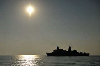 USS New York (LPD 21) transits in the U.S. 5th Fleet area of responsibility in October. US Navy Photo