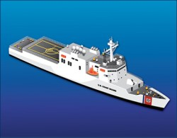 Coast Guard rendering of the planned Offshore Patrol Cutter. The service plans to announce the final three designs later this year. US Coast Guard Photo