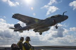 An EA-6B Prowler assigned approaches the flight deck  USS Dwight D. Eisenhower (CVN-69) on Feb. 24, 2013. US Navy Photo