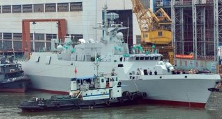 Type 056 Jiangdao class frigate under construction. Xinhua News Agency.